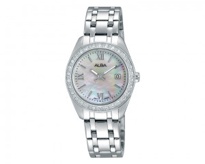 Alba LADIES' hand watch fashion MOP dial and stainless steel band AH7F89X1