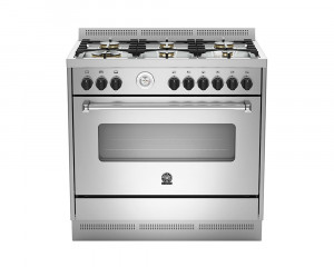 La Germania Cooker 6 Gas Burners 90x60 Stainless with 2 Fans AMS96C81AX
