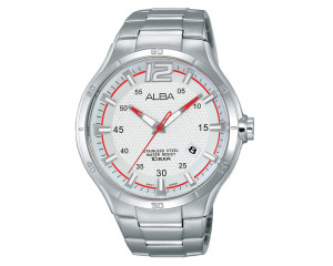 ALBA Men's Hand Watch ACTIVE Stainless Steel Bracelet & Silver White Patterned Dial AS9A85X1