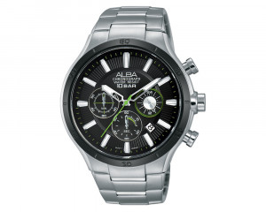 ALBA Men's Hand Watch ACTIVE Stainless Steel Bracelet & Black Patterned Dial AT3917X1