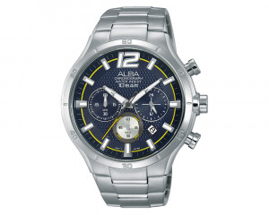 ALBA Men's Hand Watch ACTIVE Stainless Steel Bracelet & Blue Patterned Dial AT3929X1