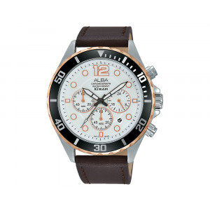 ALBA Men's Hand Watch ACTIVE Brown Leather Strap & Silver White Dial AT3912X1