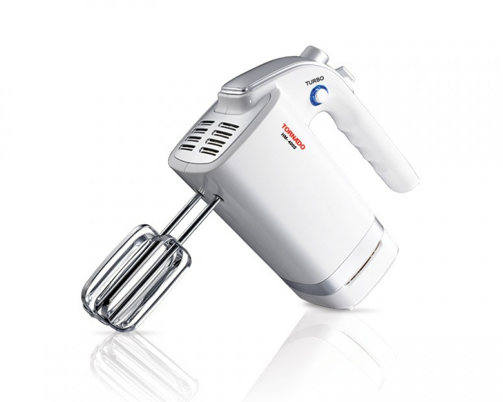 Tornado Hand Mixer 400 Watt with 4 Speeds, Turbo speed & LED Blue Light HM-400S