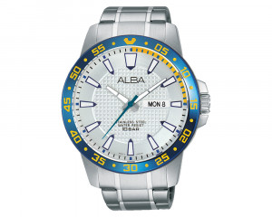 ALBA Men's Hand Watch ACTIVE Stainless Steel Bracelet & Silver White Patterned Dial AT2027X1