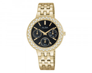 ALBA Ladies' Hand Watch FASHION Golden Stainless Steel Bracelet & Black Dial AP6454X1