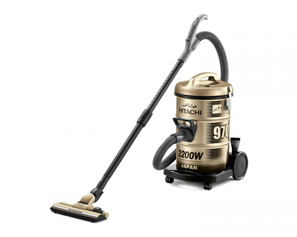 Hitachi Pail Can Vacuum Cleaner 2200 Watt Gold Color with Telescopic Pipe and Dusting Brush CV-970Y