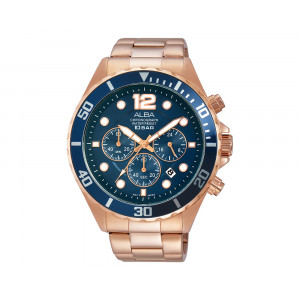 ALBA Men's Hand Watch ACTIVE Stainless Steel Bracelet & Blue Dial AT3904X1