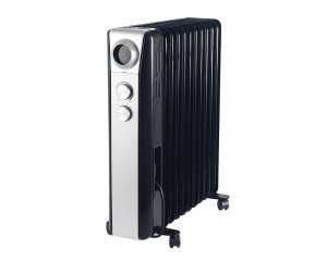 TORNADO Oil Heater 11 Fins 2200 Watt with 3 Heat Settings in Black x Silver color TOH-11