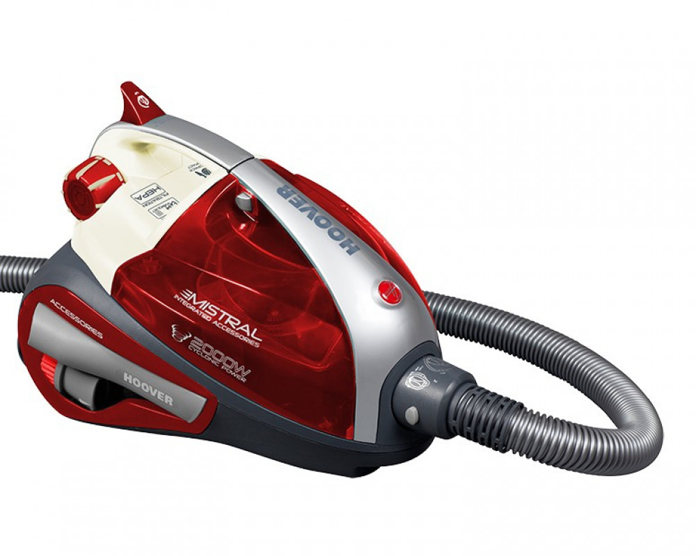 Hoover Vacuum Cleaner 2000 Watt Red × White Color with Carpets & Floors Brush TMI2003020
