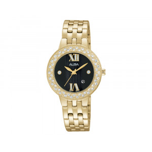 ALBA Ladies' Hand Watch FASHION Golden Stainless Steel Bracelet & Black Patterned Dial AH7H38X1