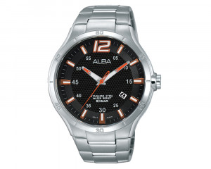ALBA Men's Hand Watch ACTIVE Stainless Steel Bracelet & Black Patterned Dial AS9A83X1