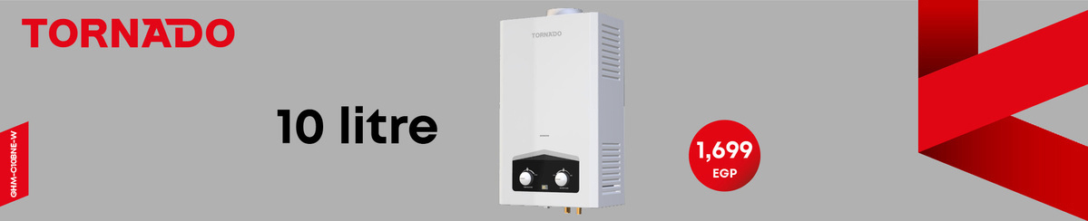 TORNADO Gas Water Heater 10 Litre Digital For Natural Gas In White Color GHM-C10BNE-W