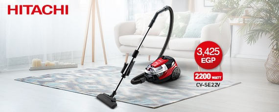 HITACHI Vacuum Cleaner 2200 Watt In Red x Black Color With Nano Titanium Hepa Filter CV-SE22V