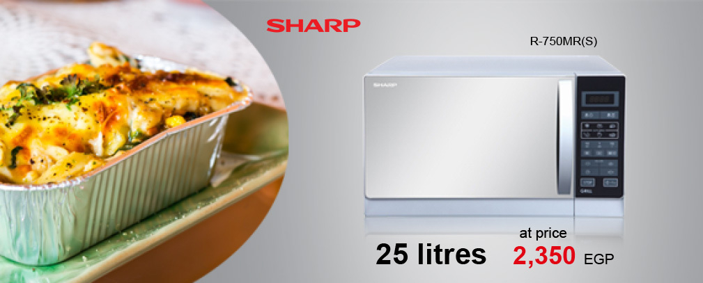 SHARP Microwave 25 Litre , 900 Watt in Silver Color With Grill and 6 Cooking Menus R-750MR(S)